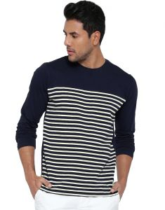 Cult Fiction Dark Blue Color Round Neck Comfort Fit Cotton T-shirt For Men