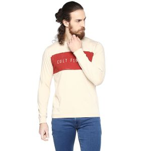 Cult Fiction Light Beige Color Round Neck Full Sleeve Men