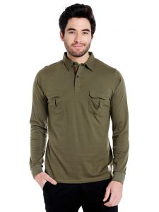 Cult Fiction Polo Neck Green Color Full Sleeve Cotton T-shirt For Men