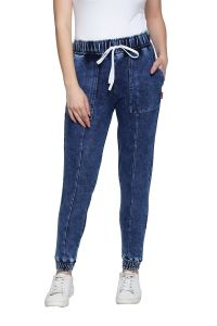Cult Fiction Blue Cotton Lycra Blend Slim-fit Joggers For Women