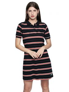 Cult Fiction Black Stripe Cotton Pique Fabric Polo Dress For Women