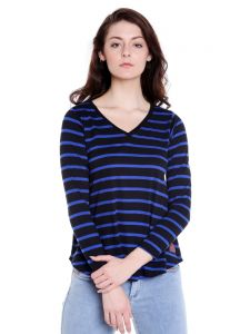 Cult Fiction V-neck Royal Blue Full Sleeve Cotton T-shirt For Women(code -cfg17awstrb4104)
