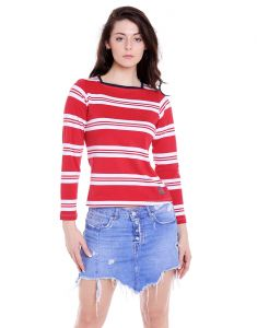 Cult Fiction Square Neck White And Red Yarn Dyed Stripe 100% Cotton Fabric T-shirt For Women(code-cfg17awstrd4106)