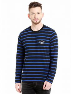 Cult Fiction Round Neck Black & Royal Blue Full Sleeve Striped Cotton T-shirt For Men(code -cfm17awstbl4011)
