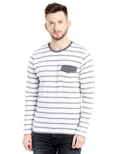 Cult Fiction Round Neck White Striped Cotton T-shirt For Men(code-cfm17awstgr4014)