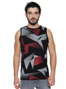 Cult Fiction Black Cotton Fabric Sleeveless T-shirt For Men