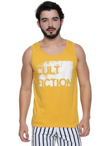 Cult Fiction Medium Yellow Cotton Fabric Sleeveless Brand Graphic T-shirt For Men