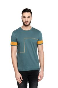 Cult Fiction Round Neck Vintage Blue Cotton Material Half Sleeve T-shirt For Men