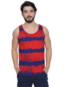 Cult Fiction Red Cotton Fabric Sleeveless All Over Print T-shirt For Men