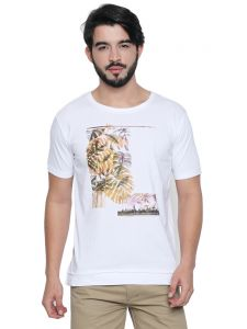 Cult Fiction White Cotton Half Sleeve Graphic T-shirt For Men