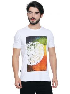 Cult Fiction White Cotton Fabric Half Sleeve Graphic T-shirt For Men