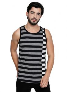 Cult Fiction Black Cotton Sleeveless Stripe T-shirt For Men