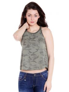 Cult Fiction Round Neck Olive Cotton Fabric Tank Tee For Women( Code-cfg17aw02lol4112)