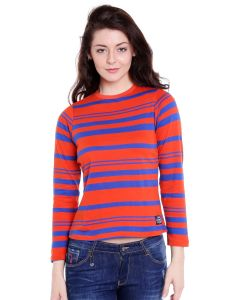 Cult Fiction High Neck Orange Striped Cotton T-shirt For Women(code-cfg17awstorg4108)