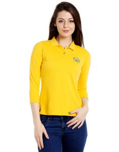 Cult Fiction Polo Neck Yellow 100% Cotton Fabric T-shirt For Women(code-cfg17awy01pk4129)