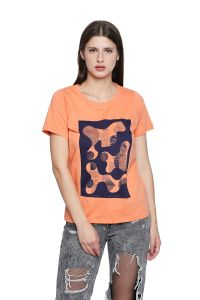 Cult Fiction Round Neck Peach Cotton Regular-fit T-shirt For Women