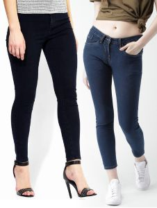 Masterly Weft Black,blue Pack Of 2 Jeans For Women