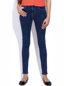 Masterly Weft Slim Fit Dark Blue Jeans For Women D-girl-2a