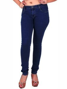 Masterly Weft Trendy Dark Blue Jeans For Women D-girl-2b