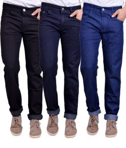 Jeans (Men's) - Masterly Weft Trendy Pack Of 3 Mens Cotton Jeans - (Code -D-JEN-1-2-3-P)