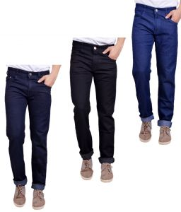 Jeans (Men's) - Masterly Weft Trendy Pack Of 3 Mens Cotton Jeans - (Code -D-JEN-1-2-3-B-P)