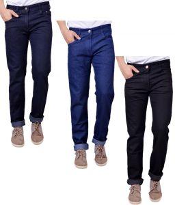 Jeans (Men's) - Masterly Weft Trendy Pack Of 3 Mens Cotton Jeans - (Code -D-JEN-1-2-3-E-P)