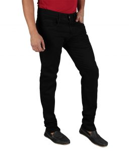 Masterly Weft Black Cotton Blend Jeans For Men D-jenc-1