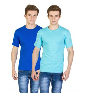Firemark India Pack Of 2 Aqua Blue & Royal Blue Cotton T Shirts For Men