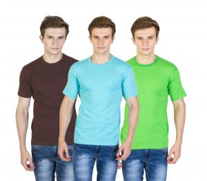 Firemark Pack Of 3 Brown, Blue & Green Cotton T Shirts For Men