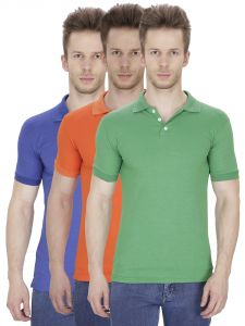 Firemark Pack Of 3 Blue, Orange & Green T Shirts For Men
