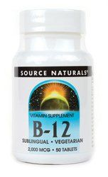 Vitamin B-12 Sublingual 2000mcg Source Naturals, Inc. 50 Lozenge