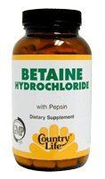 Country Life Betaine Hydrochloride 600 Mg Pepsin, 250-count