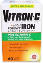 Vitron-c High Potency Iron Plus Vitamin C Tablets - 60 Ea - 3 Pack