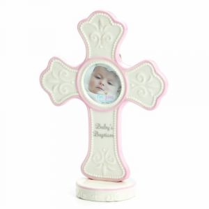 Nat And Jules Babys Baptism Cross Frame, Pink