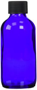Cobalt Blue Boston Round Bottle With Cap - 4 Oz, 6 Ct,(frontier)