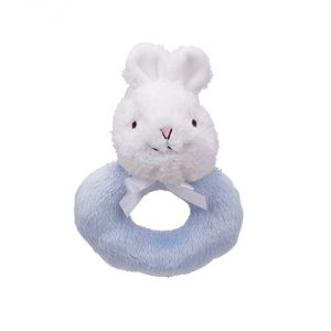 Friendly Pacifier Plush Ring Rattle Pacifier, Light Blue