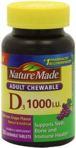 Nature Made Adult Chewable D 1,000 I.u. Tablets, Grape, 120 Count