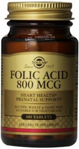 Solgar Folic Acid Tablets, 800 Mcg, 100 Count