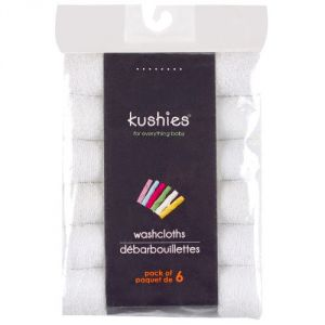 Kushies 6 Pack Wash Cloth Set, White