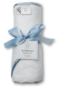 Swaddledesigns Terry Velour Hooded Towel, Striped Fish, Blue