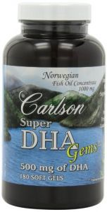 Carlson Super Dha Gems, 500mg Softgels, 180-count