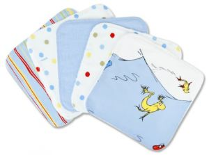 Trend Lab Dr. Seuss 5 Piece Wash Cloth Set, One Fish Two Fish