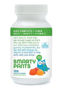 Smartypants Kids Fiber Complete With No Sugar Added, Multi Plus Omega 3 Plus Vitamin D, 120 Count