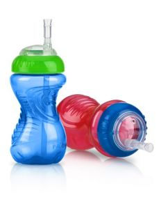 Nuby 2-pack 10 Oz No-spill Cup With Flexi Straw, Colors May Vary