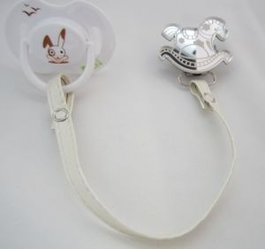 Tan Rocking Horse Mirror Pacifier Clip With Faux Leather Strap