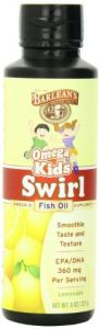 "Barlean""s Organic Oils Kid""s Omega Swirl Fish Oil, Lemonade Flavor, 8 Ounce Bottle"