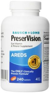 Bausch & Lomb Preservision Eye Vitamin & Mineral Supplement, 240-count Tablets