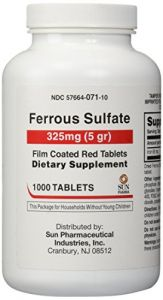 United Research Labs. Ferrous Sulfate 325 Mg Film Coated Tablets, 1000 Count