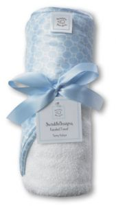 Swaddledesigns Terry Velour Hooded Towel, Mini MOD Circles, Pastel Blue