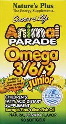 "Animal Parade Omega 3-6-9 Junior Lemon Flavor Nature""s Plus 90 Softgel"